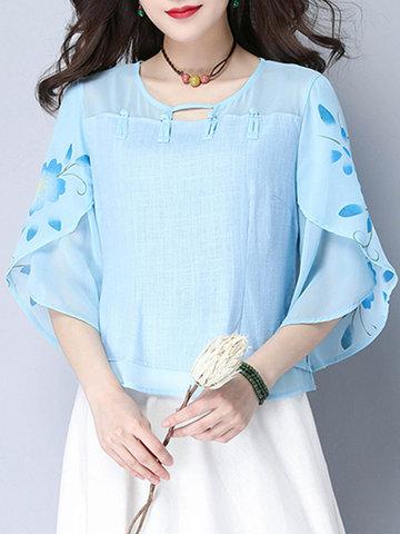 Women Half Sleeve Floral Printed Vintage T-shirts-Newchic-