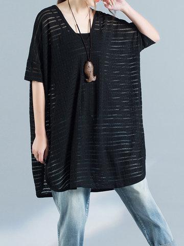 Women Half Sleeve Irregular Hem Loose Cotton Blend T-shirts-Newchic-