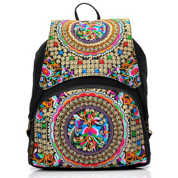 Women Handmade Embroidery Canvas Backpack-Newchic-