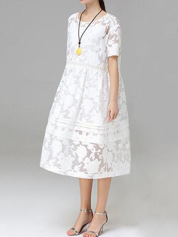 Women Jacquard O-Neck Short Sleeve Billowing Two-Piece Dresses-Newchic-