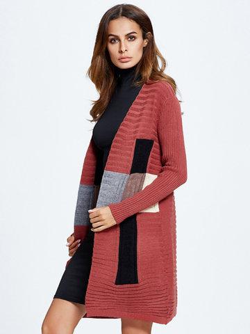 Women Long Sleeve Knit Cardigan-Newchic-