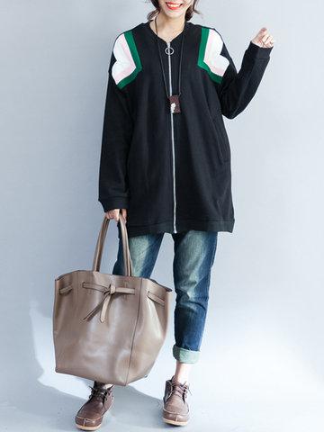 Women Long Sleeve O-Neck Zipper Jacket-Newchic-