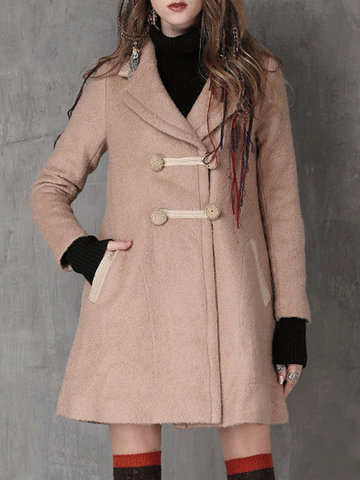 Women Long Sleeve Plate Buckle Pure Color Woolen Coats-Newchic-