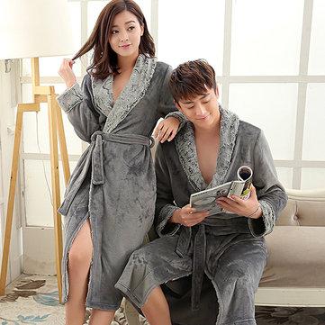 Women Luxury Fur Silk Soft Flannel Bathrobe-Newchic-