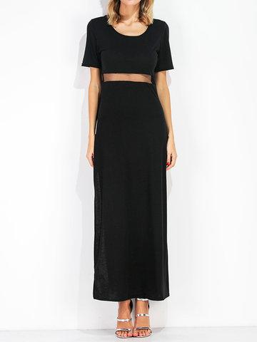 Women Mesh Patchwork Short Sleeve Side Split Maxi Dresses-Newchic-
