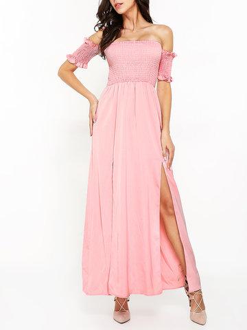 Women Off Shoulder Side Split Long Maxi Pure Color Sexy Dresses-Newchic-