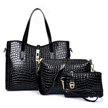 Women PU Embossing Three-piece Messenger Female Bag-Newchic-