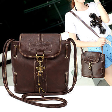 Women PU Leather Messenger Bag Retro Shoulder Bag Crossbody Bag-Newchic-