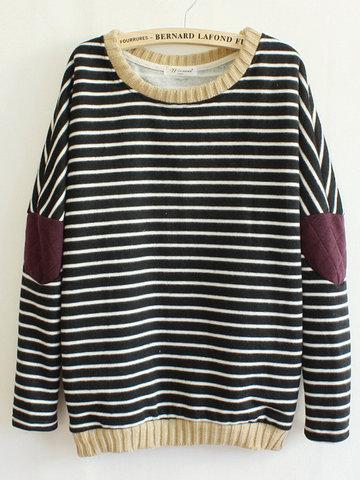 Women Patchwork Long Sleeve Fleece Inside Stripe Cotton Sweatshirt-Newchic-