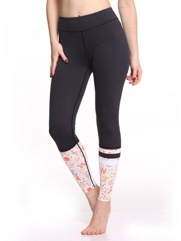 Women Patchwork Printed Workout Yoga Gym Leggings-Newchic-