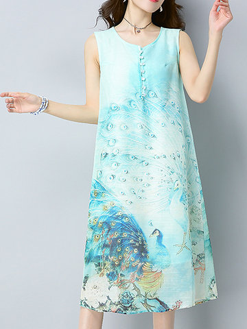 Women Peacock Printed Sleeveless O-Neck Vintage Style Dress-Newchic-