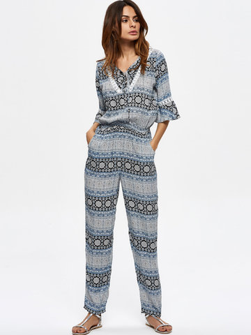 Women Printed 3/4 Sleeve Printed Elastic Waist Full Length Jumpsuits-Newchic-