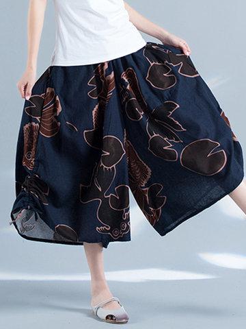 Women Printed Elastic Waist Vintage Wide Leg Pants-Newchic-
