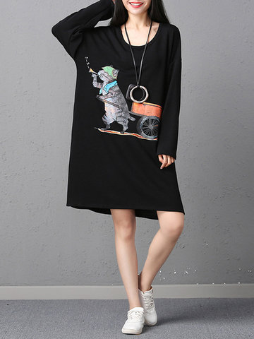 Women Printed Long Sleeve Thick Dress-Newchic-