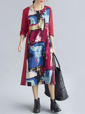 Women Printed Mid-Long Vintage Dresses-Newchic-