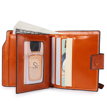 Women RFID Oil Wax Leather Wallet Genuine Leather Purse-Newchic-