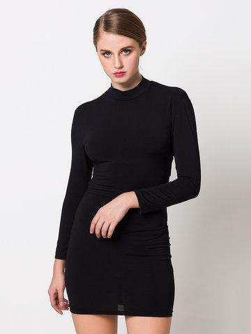 Women Sexy Backless Long Sleeve Turtleneck Bodycon Mini Dress-Newchic-