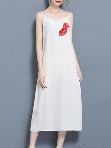 Women Sexy Embroidery Spaghetti Strap Dresses-Newchic-