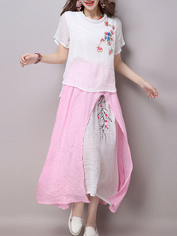 Women Short Sleeve Embroidered T-shirts Skirt Vintage Suits-Newchic-