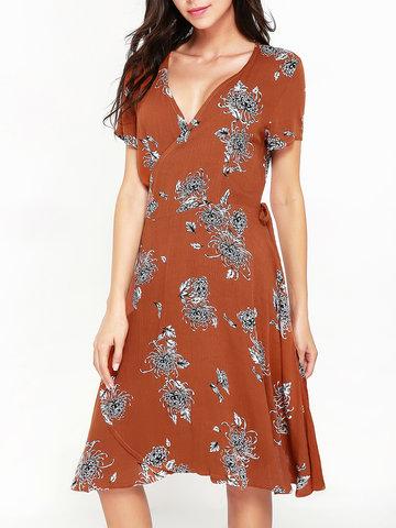 Women Short Sleeve Floral Printed V-neck Bohemian Mini Dresses-Newchic-
