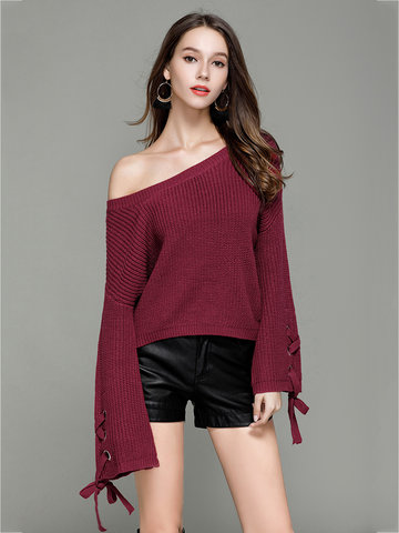 Women Solid Bandage Sweater-Newchic-