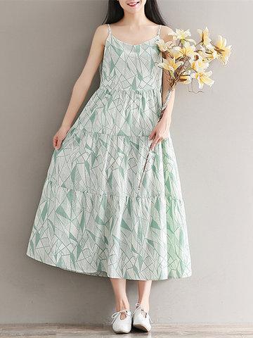 Women Spaghetti Strap Bohemian Printed High Waist Maxi Dresses-Newchic-