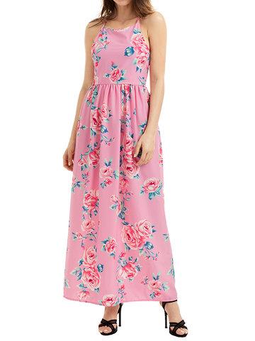 Women Spaghetti Strap High Waist Floral Printed Bohemian Maxi Dresses-Newchic-