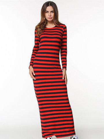 Women Stipe Maxi Dresses-Newchic-