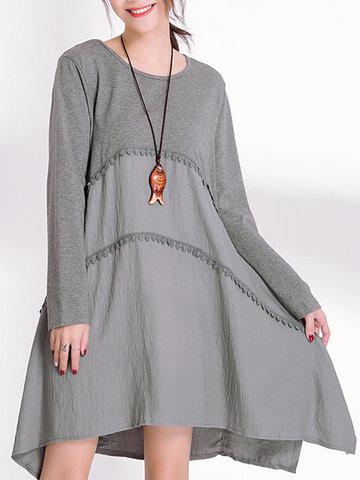 Women Stitching Irregular Mini Dress-Newchic-