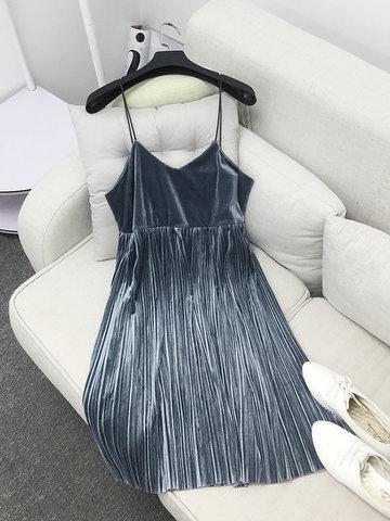 Women Strap Velvet Pleated Dress-Newchic-