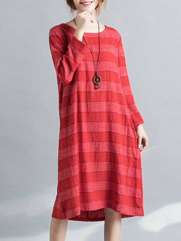 Women Stripe Vintage Dresses-Newchic-