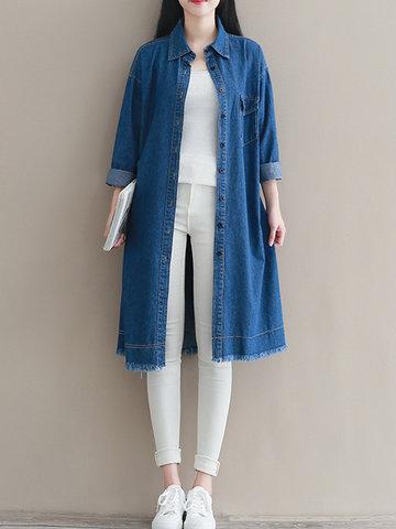 Women Tassels Denim Coat-Newchic-