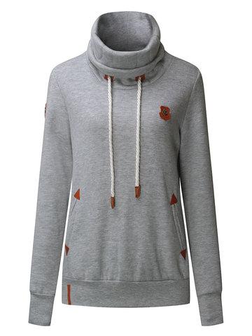 Women Turtleneck Drawstring Long Sleeve Pockets Sweatshirt-Newchic-