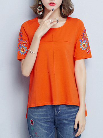 Women Vintage Embroidered Short Sleeve Side Split T-shirts-Newchic-