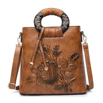 Women Vintage Flower Print PU Leather Crossbody Bag-Newchic-