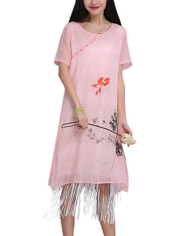 Women Vintage Ink Printed Tassel Short-Sleeve Loose Dress-Newchic-