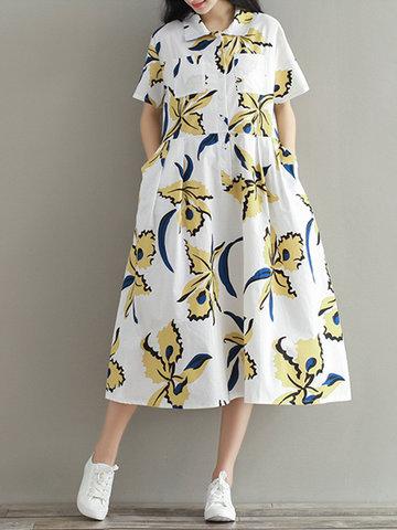 Women Vintage Printed Lapel Short Sleeve Buttons Pocket Dresses-Newchic-