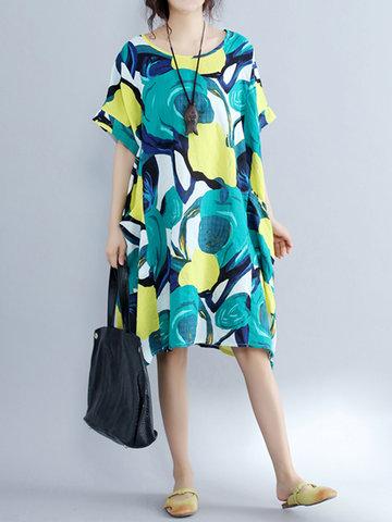 Women Vintage Printed Short Sleeve O-neck Loose Dresses-Newchic-