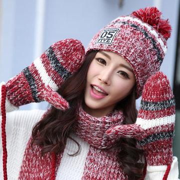Women Winter Hat Scarves Gloves Set-Newchic-