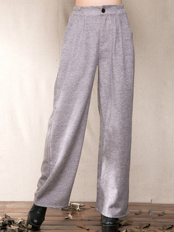Woolen Elastic Waist Wide Legs Women Pants-Newchic-