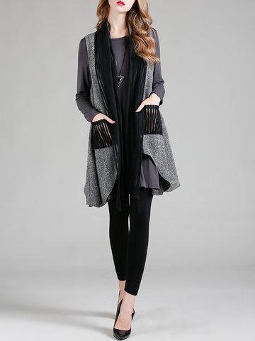 YIZHIYU Patchwork Irregular Hem Vest Jackets-Newchic-