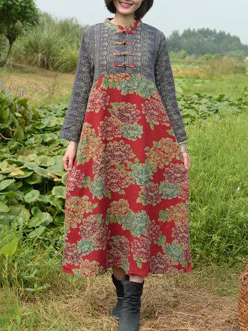 ZHI Vintage Patchwork Maxi Dresses-Newchic-