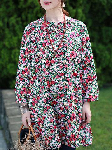 ZHI Vintage Women Floral Printed Long Sleeve Side Split T-shirts-Newchic-
