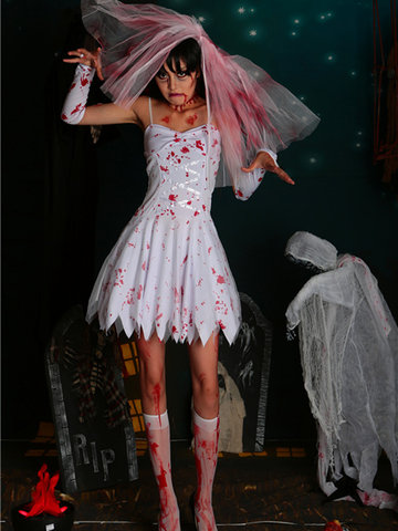 Zombie Bride Halloween Costume Bloody Dead Zombie Mini Dress-Newchic-