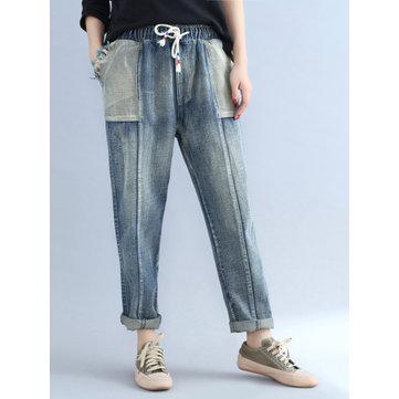 Women Elastic Waist Drawstring Denim Pants-Newchic-