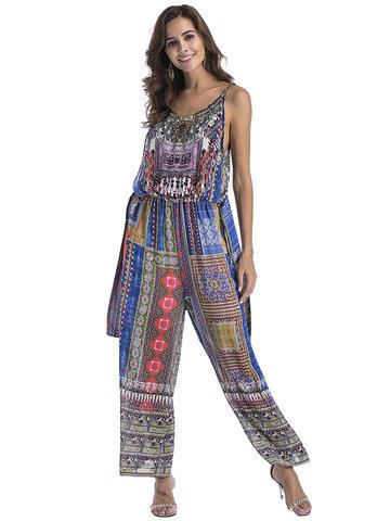 Bohemian Print Wide Leg Women Jumpsuits-Newchic-