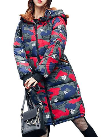 Camouflage Ears Hooded Women Coats-Newchic-