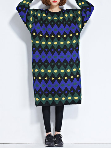 Casual Knitted Irregular Stripe Dresses-Newchic-