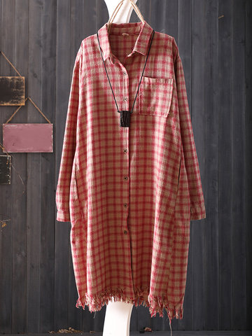 Casual Loose Plaid Women Long Shirts-Newchic-