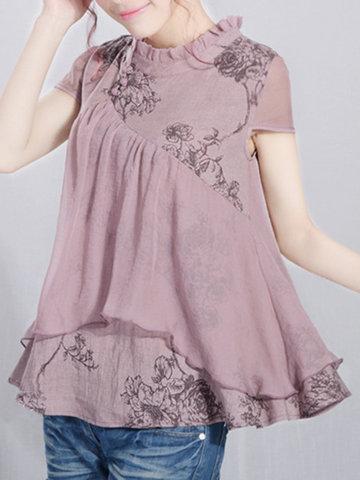Casual Loose Printed Short Sleeve Women Shirts-Newchic-